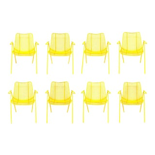 Russell Woodard Mid-Century Sculptural Yellow Patio Chairs - Set of 8