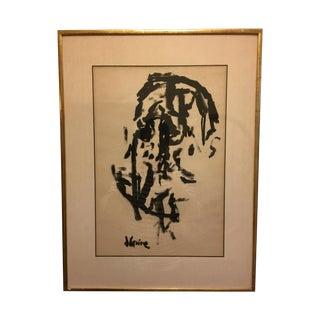 Jack Levine Cubist Ink Painting