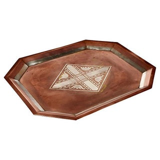 Art Deco Silver-Accented Copper Tray