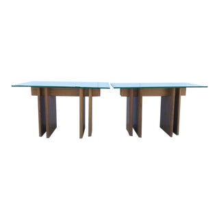 Pair Danish Wood Side Tables/Glass Tops