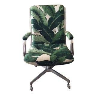 Vintage Desk Chair in Palm Upholstery
