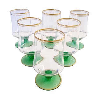 Green Stemmed Wine Glasses - Set of 6
