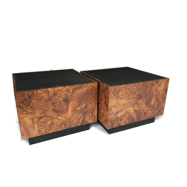 Vintage Burl Wood Cube Tables - A Pair - Image 2 of 10