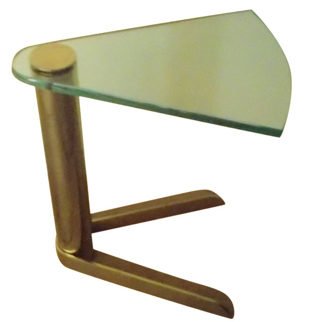 Pace Triangular Brass & Glass Side Table - Image 1 of 4