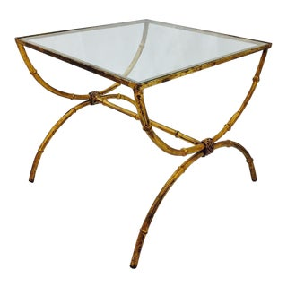 Hollywood Regency Brass & Glass Faux Bamboo Side Accent Table