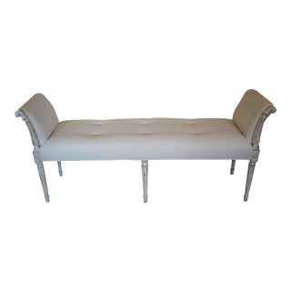 Antique White Washed Bench