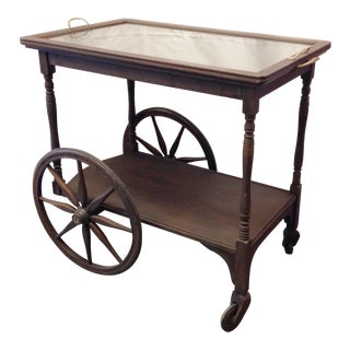 Antique Oak Bar Cart