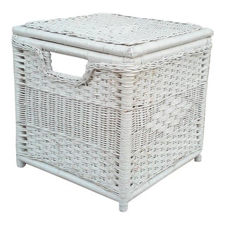 White Natural Wicker Storage Stool