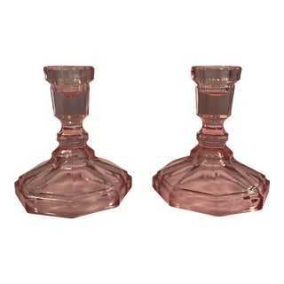 Vintage Mid-Century Pink Glass Candlesticks - A Pair