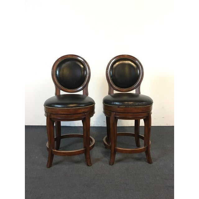 Mahogany & Black Leather Swivel Bar Stools - A Pair - Image 2 of 11