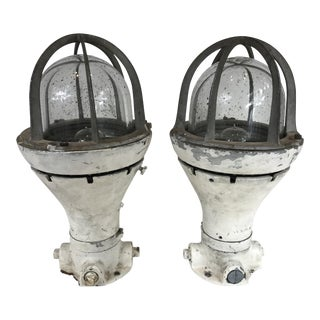 Vintage Ship Deck Table Lamps - A Pair