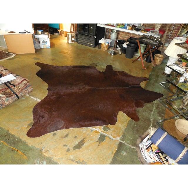 Large Chocolate Brown Cowhide Rug - 7′7″ × 8′10″ - Image 3 of 8