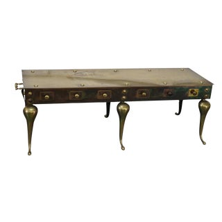 Vintage English Georgian Style Brass Footman Coffee Table