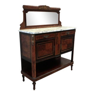 French Antique Marble Top Walnut Server Sideboard Buffet