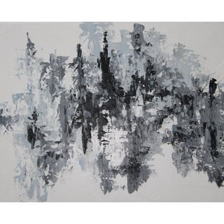 Abstract Gray & Black Painting by C. Plowden
