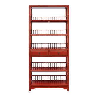 Chinese Distressed Red Bookcase