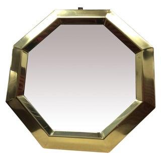 1970s Modern Octagonal Brass Mirror
