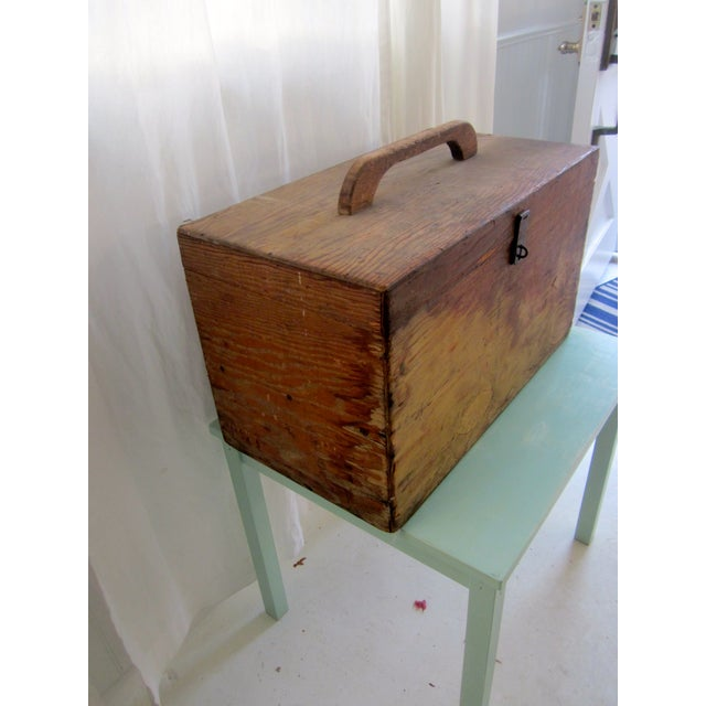 Primitive Rustic Wood Trunk Chest Crate Tool Chest - Image 6 of 11