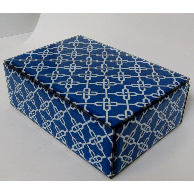 Blue & White Fabric & Glass Box - Image 3 of 5