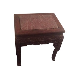 Antique Carved Asian Table With Rose Marble