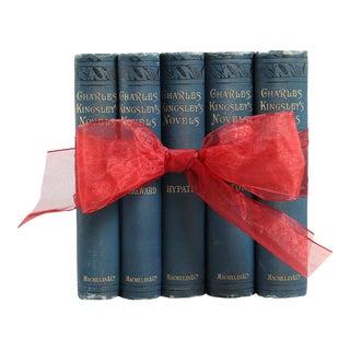 Antique Teal & Gilt Novels - Set of 5