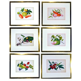 China Trade Watercolour Paintings of Vegetables, set of six, Mid-19th Century.