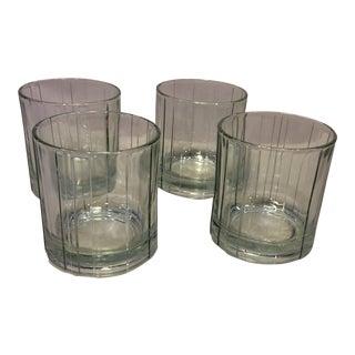 Vintage Anchor Hocking Crystal Wedge Cut Lowball Glasses- Set of 4