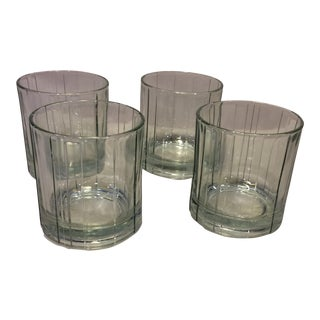 Vintage Anchor Hocking Crystal Wedge Cut Lowball Glasses- Set of 4