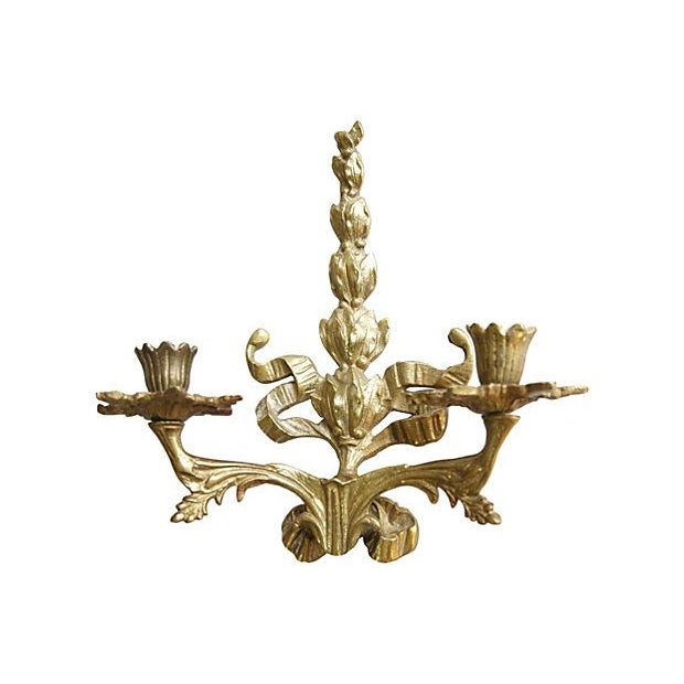 Image of Hollywood 1950s Brass Candle Sconces - Pair