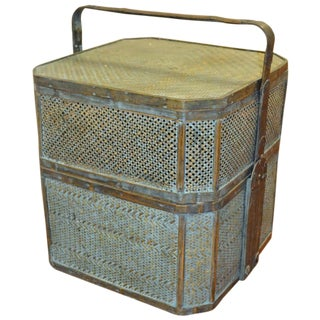 Green Woven Rattan Basket Side Table