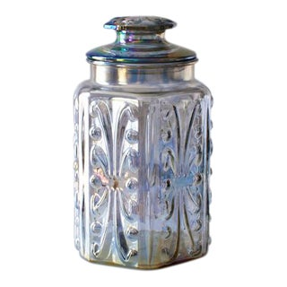 Iridescent Carnival Glass Canister