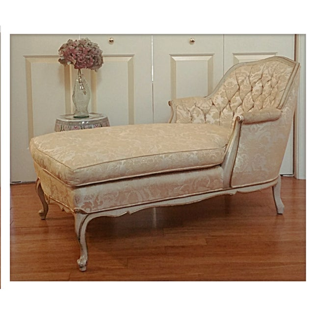french provincial tufted chaise lounge chairish. Black Bedroom Furniture Sets. Home Design Ideas