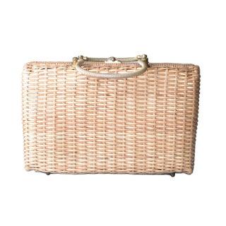 Vintage Straw & Brass Basket