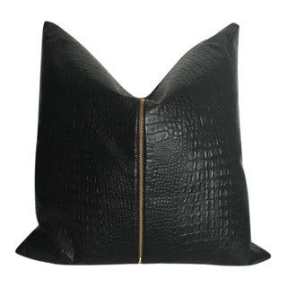 Black Croc Faux Leather Pillow