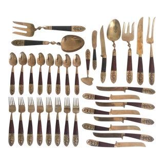 Vintage Mid-Century Brass Rosewood Siam Buddha Flatware & Wood Case - 33 Pieces