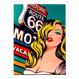 'Red Lips on 66' Pop Art Painting