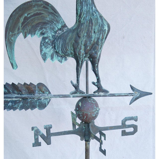 Antique Rooster Weathervane: Vintage Copper Rooster Weathervane With Stand