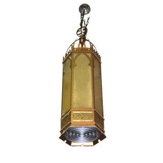 Antique Oversized Gothic Church Brass Pendant Light