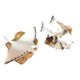 Ceramic & Stone Fish - A Pair
