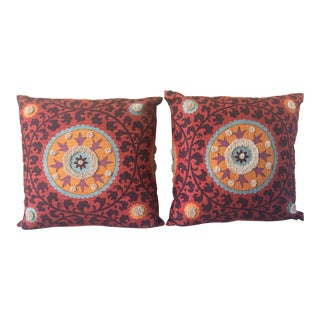 Suzani Medallion Tribal Fringe Pillows - A Pair