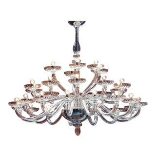 Large Triple Tier Clear Murano Glass Chandelier