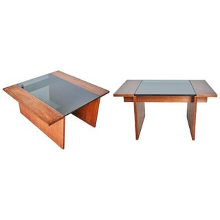 Gerald McCabe for Brown Saltman Walnut & Smoked Glass Side Tables - A Pair
