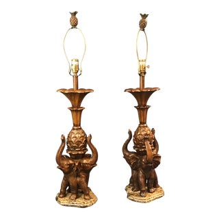 Excelsior Elephants on Stone Table Lamps - A Pair