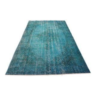 "Turquoise Turkish Overdyed Rug - 5'1"" X 8'6"""