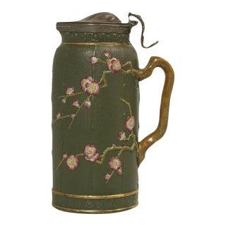 Chinese Chippendale Style English Stafforshire Pottery Pitcher
