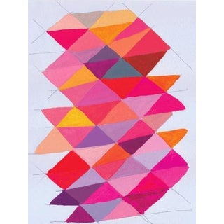 Geometric Pink Mixed Media Painting