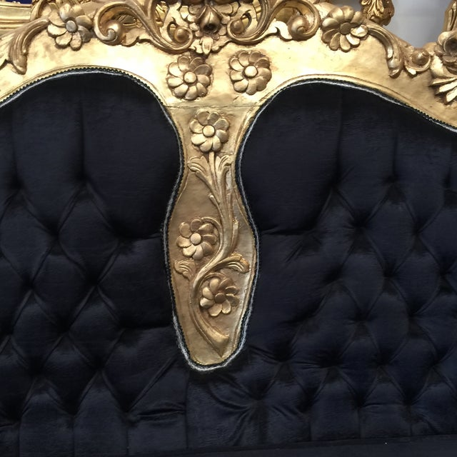 Black & Gold Rococo Style Tufted Black Sofa - Image 5 of 6