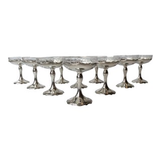 Antique Shreve & Co Sterling Silver Champagne Coupes Compotes - Set of 10
