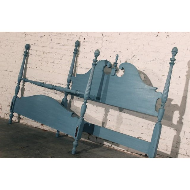 Pale Blue Shabby Chic 4-Poster Full Bed - Image 2 of 7