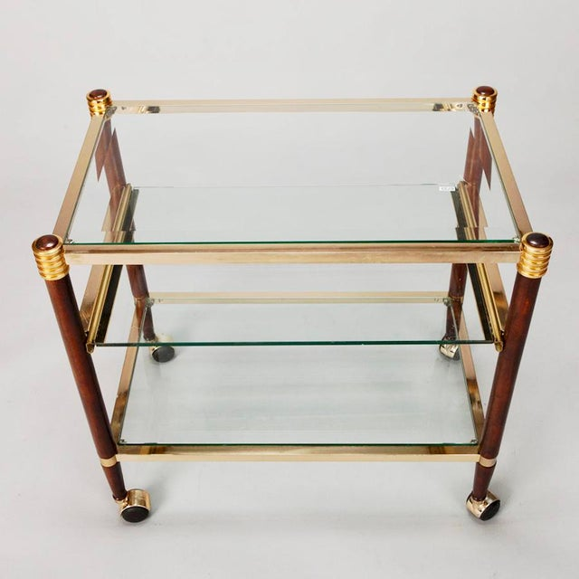 Mid-Century Italian Brass Glass and Polished Wood Trolley Table or Bar Cart - Image 5 of 8